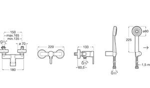 Baterie sprchová nástěnná Carelia, 150mm, vč. sprchové sady - 2