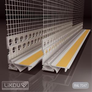 Profil okenní s tkaninou sv.šedý 6mm/2.6m - 2