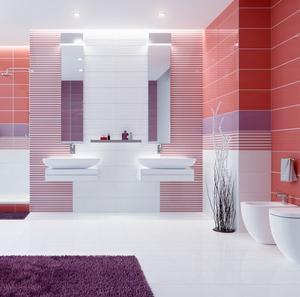 JOY 25x70 mozaika proužky coral/bílá/viola - 2