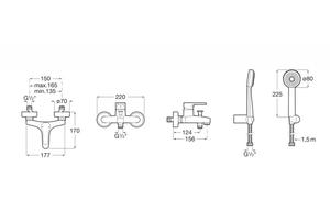 Baterie vanová nástěnná Arola,150mm, vč. sprchové sady - 3