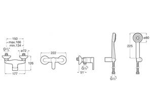 Baterie sprchová nástěnná Arola, 150mm, vč. sprchové sady - 3